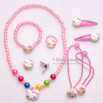 Kids Jewellery Hello Kitty CZ Bow 6PC Hair Accessories+Bracelet+Ring+Earrings+Necklace Sets Childrens Jewellery 24sets Wholesale