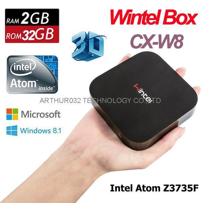 Original Wintel CX-W8 Mini PC Windows Smart TV Box Quad Core 2G 32G Intel Atom Z3736F Windows 8.1 &Android 4.4 Dual OS Bluetooth