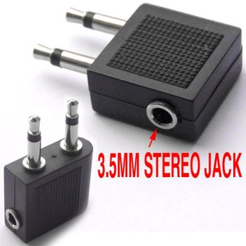 Free Shipping Wholesale 200pcs 3.5mm AIRLINE AIRPLANE HEADPHONE JACK PLUG ADAPTER,Airline Adapter