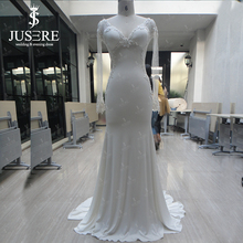 2015 Sheath V Neck Illusion Long Sleeves Plain Bridal Dress Empire Lace Bead Satin Zipper Silk Wedding Dresses(China (Mainland))