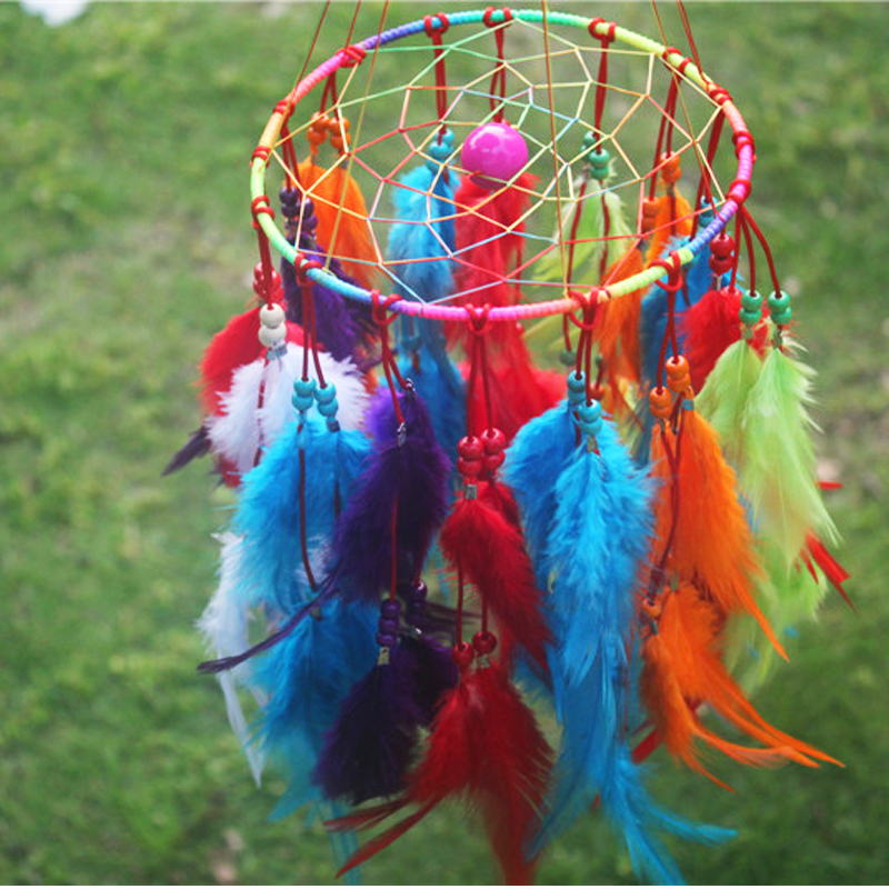 Indian Dream Catcher Home Decor, Feather Dreamcatcher Wind Chimes Indian Style, Religious Mascot Car or Wall hanging Decoration(China (Mainland))