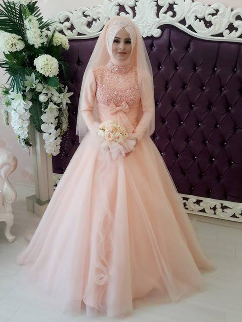 Online Buy Wholesale peach wedding gowns muslim from China ...