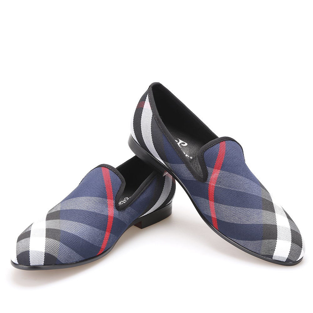 blue and white plaid canvas shoes luxury brand loafers
