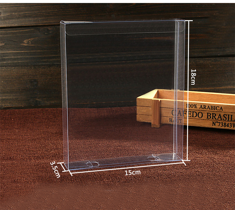 20pcs 3.5*15*18cm Wedding PVC Box clear Gift Craft cosmetic display box small Jewelry packing holder Transparent plastic box(China (Mainland))