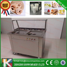 free shipping by sea 110V 220v  double square pans with 5 topping tanks of fried ice cream roll machine with R410A Refrigerant(China (Mainland))
