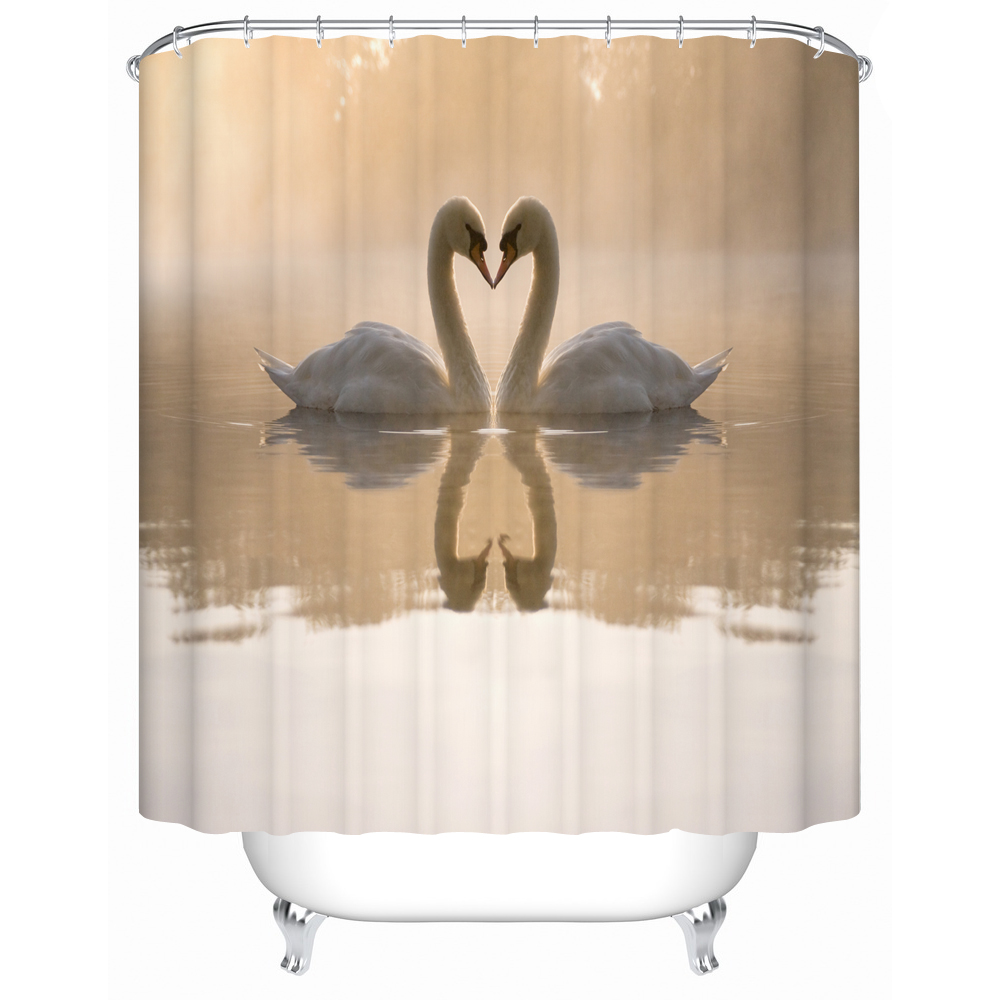 Shower Curtains Bathroom Curtain Two Beautiful Swan In The Lake on The Shower Curtain High-quality Furniture Supplies FJ-055(China (Mainland))