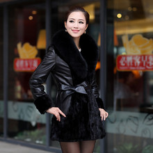 genuine sheepskin sheep leather coat with fox fur collar and mink fur female Large long winter warm coat free shipping CW2011(China (Mainland))