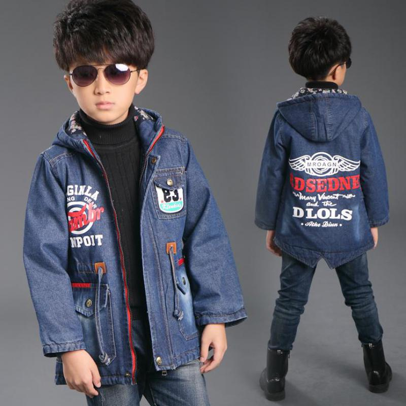 New Big Boys Denim Jackets Winter New Brand Children Clothing Fashion Sports Style Kids Clothes