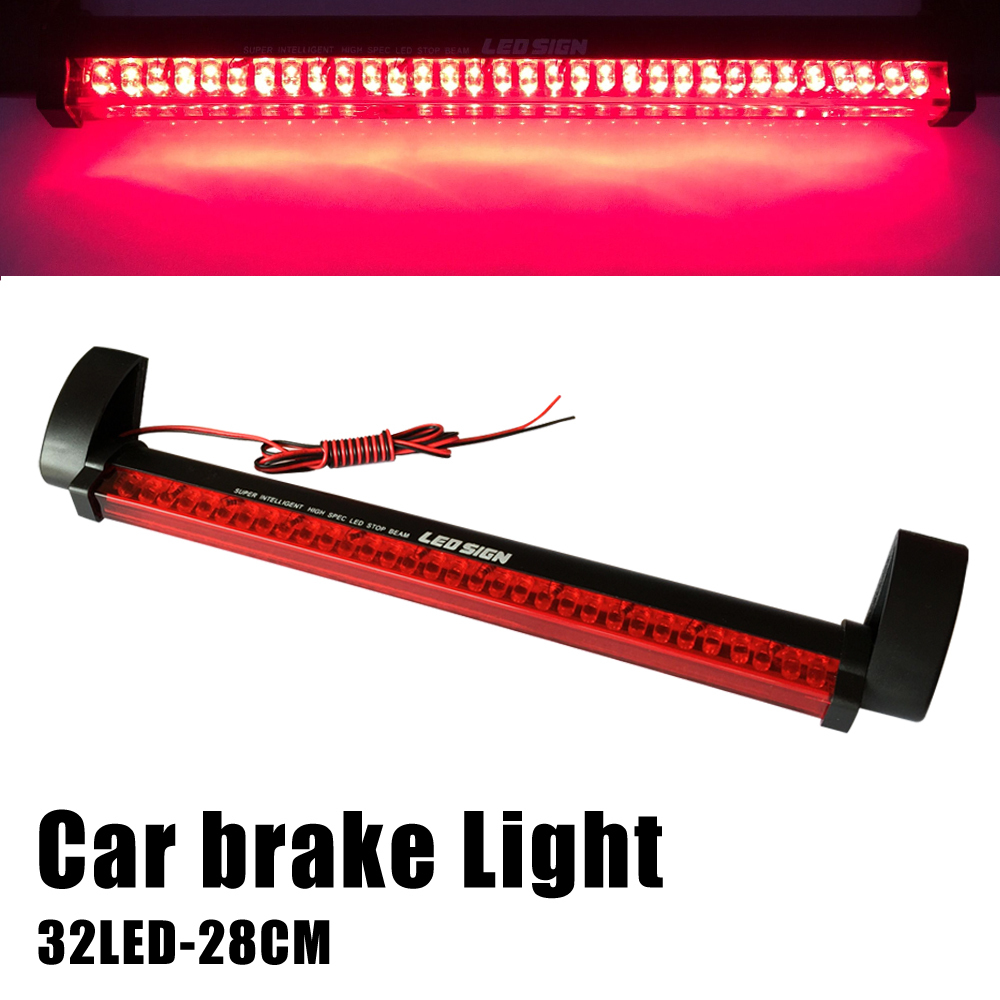 New Additional brake lights 32 LED Red Car Auto Third Brake Lights Fog Stop Rear Tail Warning Lamp Bulb for DC 12V parking(China (Mainland))