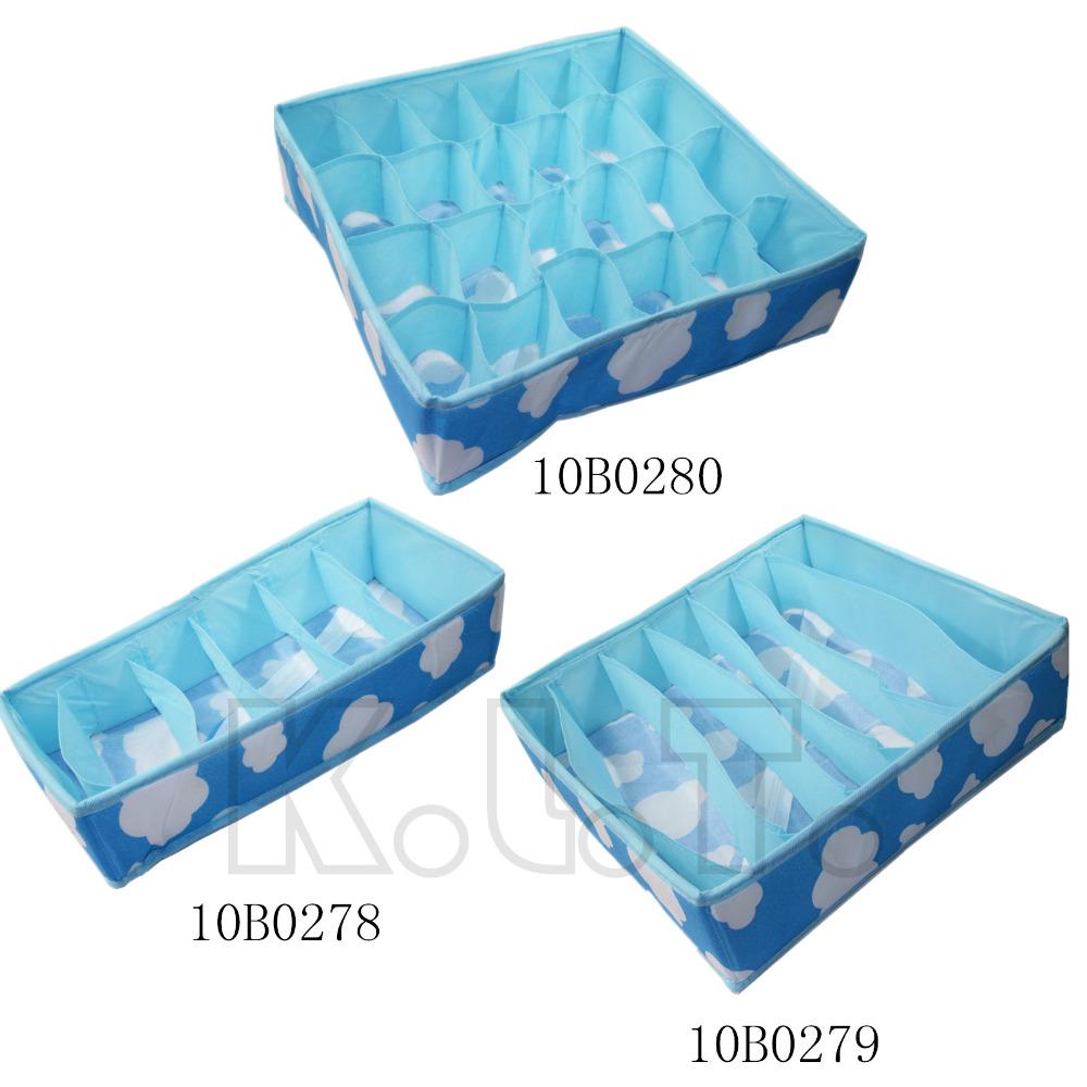 Hot Sale Blue Various Grid Pattern Fashion Convenient Folding Storage Box Bag for Bra Underwear Necktie Sock Organizer(China (Mainland))