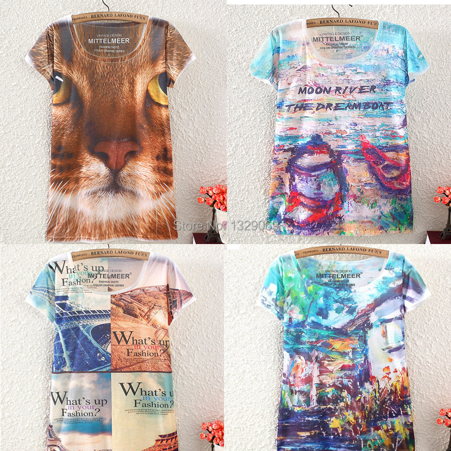 Slim WOMen's short sleeve T-shirt 2014 fashion summer new Top quality WOmen o-neck colour Casual printed t shirt clothing tops(China (Mainland))