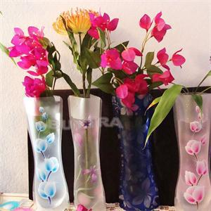 5Pcs Eco-friendly Foldable Folding Flower PVC Durable Vase Home Wedding Party Easy to Store 27.4 x 11.7cm(China (Mainland))