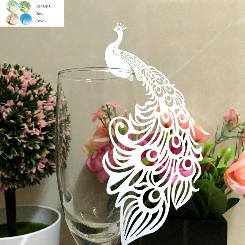 50pcs Peacock laser Cut Paper Place Card Escort Cup Card glass wine charms wedding favors and gifts baby shower party supplies(China (Mainland))