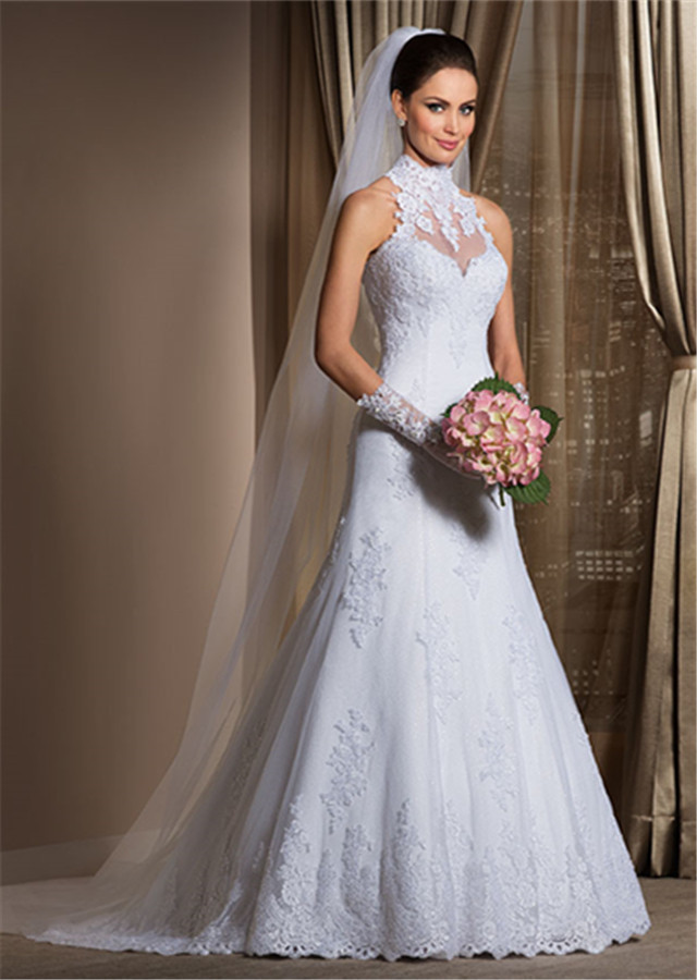 Gorgeous a line high neck wedding dress cheap lace sheer for Wedding dresses with sheer illusion neckline