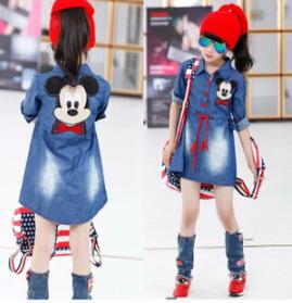 spring autumn female child water wash denim Girls Kids 5 14Y Mickey Casual Lovely Denim Blue Beautiful Lace Princess Dress - BOBO Co. Ltd store