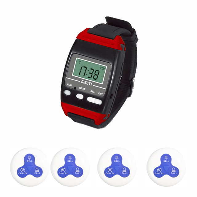 Dining Hall coffee shop 20 buttons 2 watches receiver wireless wrist watch pager  table calling button