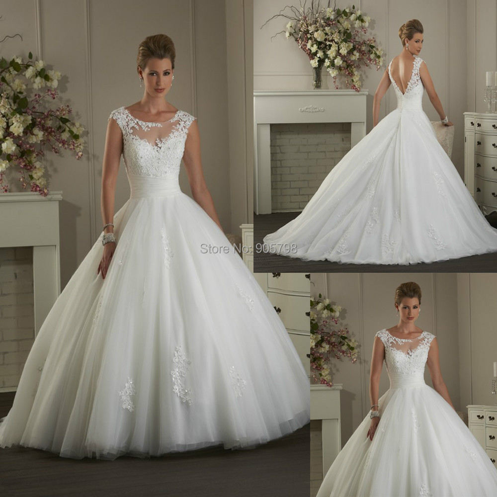 Ball Gown Wedding Dresses With Short Sleeves : Aliexpress buy modern illusion bateau neckline short