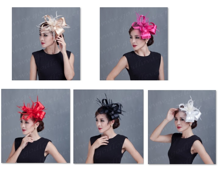 woman Ladies hat handmade white feather flower hair accessories hair clip ribbon Bow Fascinators sinamay wedding hats 5colors(China (Mainland))