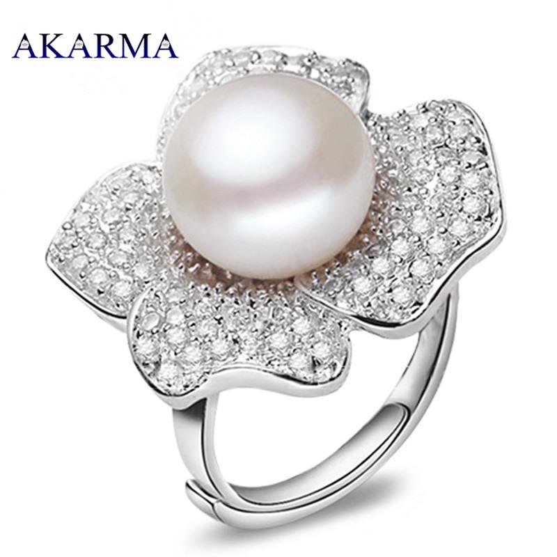 Akarma Vintage Pearl Ring 925-sterling-silver anel feminino bague Rings For Women Wedding Jewellery aliancas de casamento bijoux
