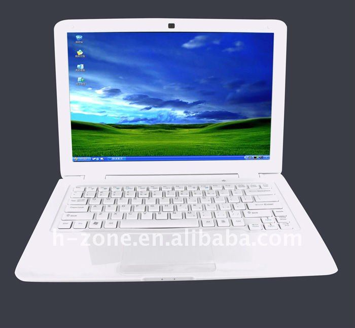 Popular mini laptop super thin,pure white color,13.3inch with Atom D425 1.8Ghz processor, 2GB RAM, 320GB HDD, Webcam(Hong Kong)