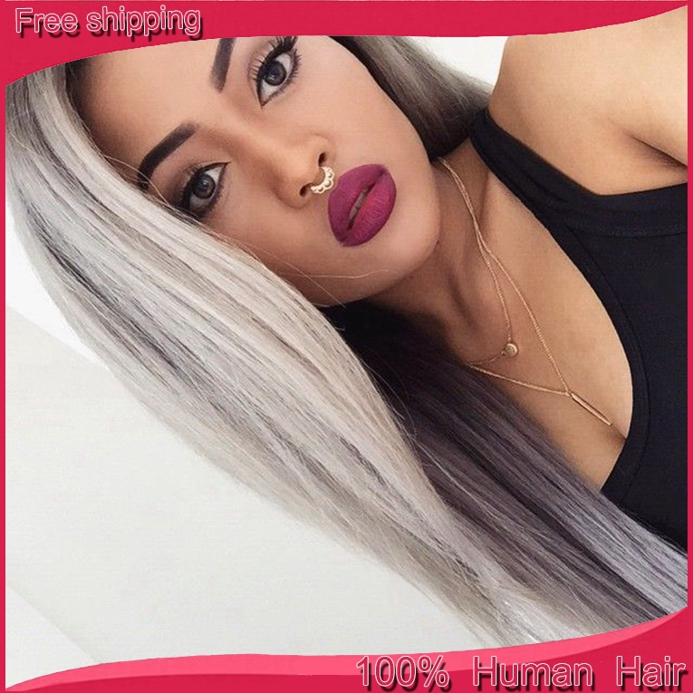 Гаджет  7A Hotsale silver grey human hair wigs Brazilian full lace wigs/front lace wig human hair with baby hair for white/black women None Волосы и аксессуары