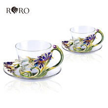 2015 new hot enamel glass metal happiness iris European Cup Coffee set wedding gift explosion