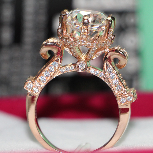 Super Solid 18K Rose Gold Ring For Woman 5CT Synthetic Diamond Female Rose Gold Au750 Marriage Ring Great Valuable Fine Jewelry(China (Mainland))