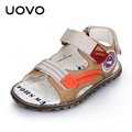 UOVO 2016 Summer High Quality Leather Boys Sandals Wearable Children Sandals For Boy Nonslip Beach Sandals