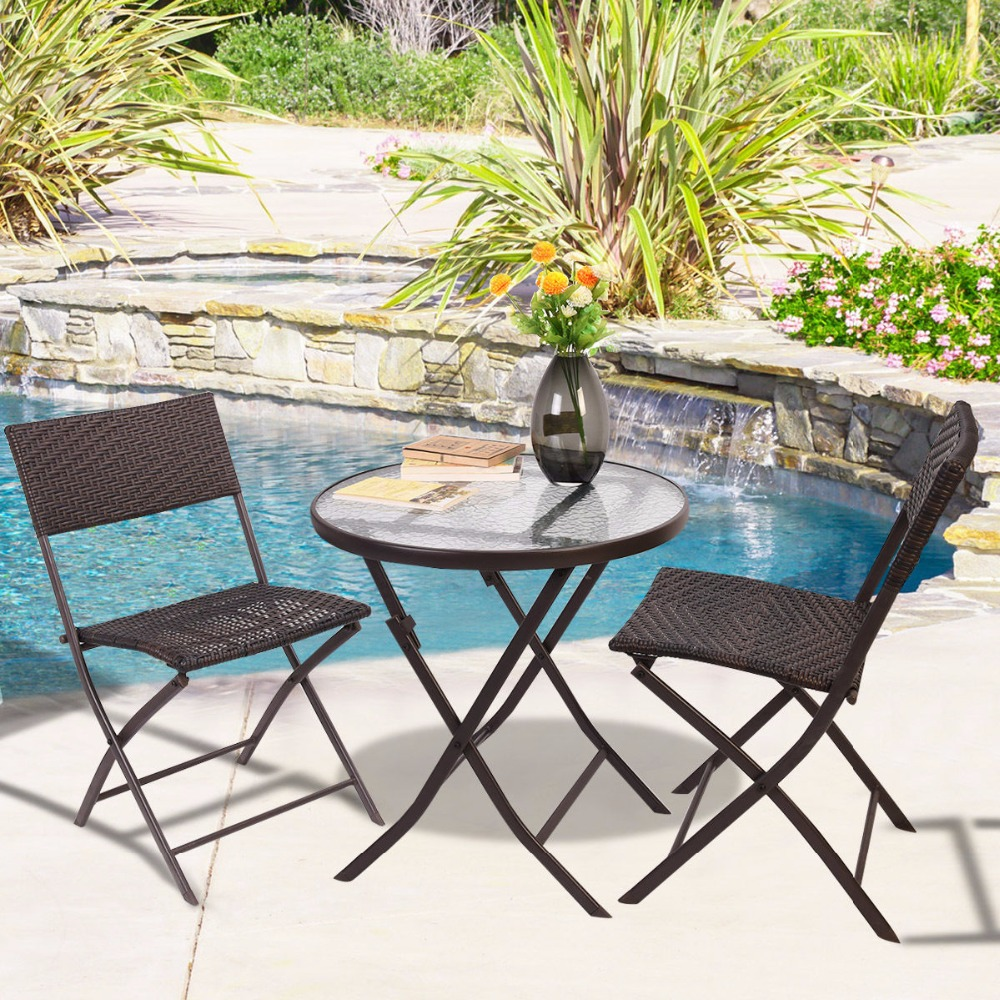 GOPLUS Patio Furniture Folding 3PC Table Chair Set Bistro Style Backyard Ratt