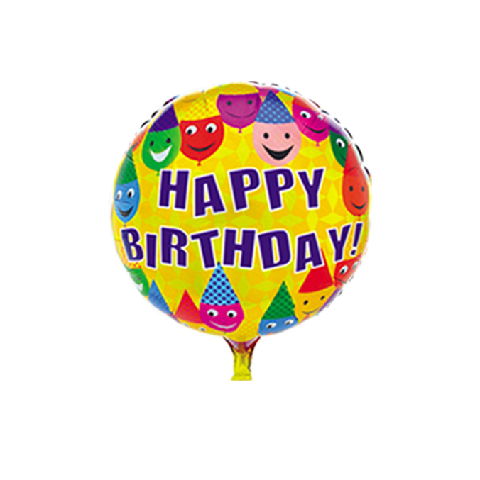 Colorful 18inch round happy birthday cartoon for children's toys print balloons, self-sealing balloon retail(China (Mainland))