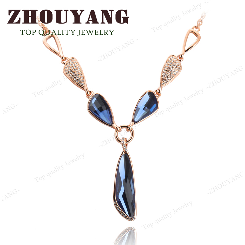 Top Quality Luxury Blue Crystal Party Jewelry 18K Gold Plated Pendant Necklace Austrian Crystal Wholesale N575 N576(China (Mainland))