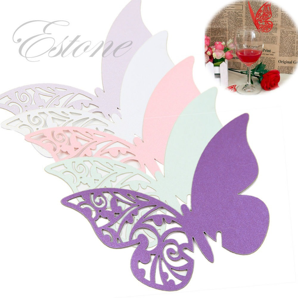 A96 Free Shipping 50pcs Table Mark Wine Glass Butterfly Name Place Cards Wedding Party Favor(China (Mainland))