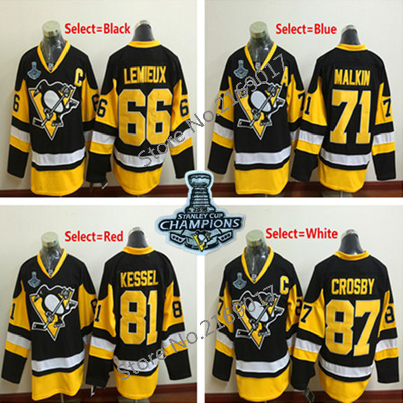 Mens 66 Mario Lemieux 71 Evgeni Malkin 81 Phil Kessel 87 Sidney Crosby Stitched 2016 Stanley Cup Champions Patch Jerseys(China (Mainland))