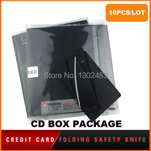 10PCS,Wallet Folding Safety Knife Credit Card Tactical Rescue Knife Mini Pocket Camping Military Survival Knife + Retail Package(China (Mainland))