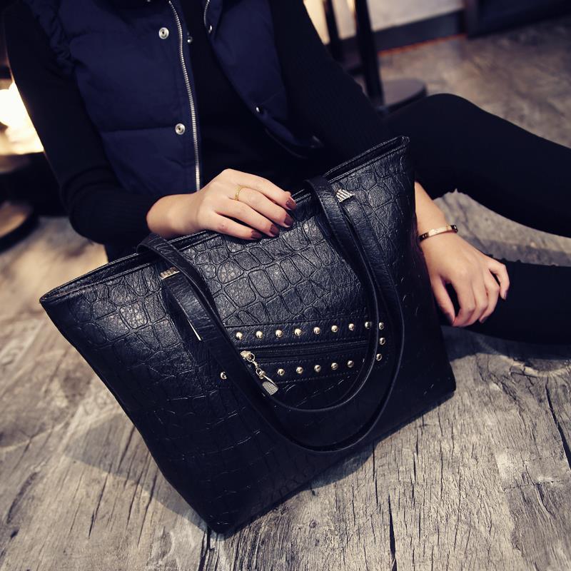 Fashion shopping bag 2016 rivet big bags casual women's handbag  female large shoulder bag totes