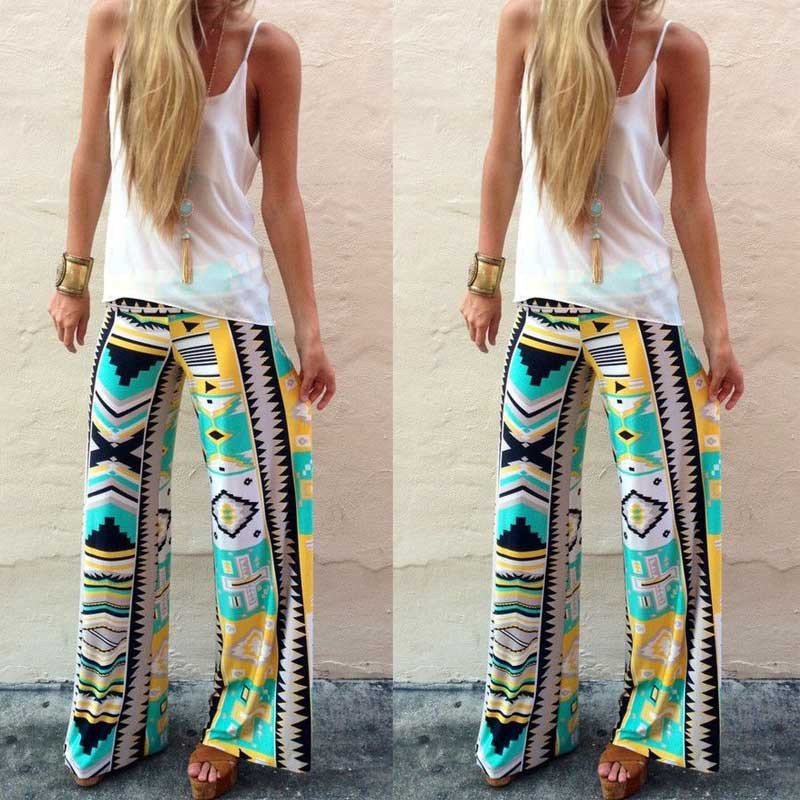 Fashion Women S Floral Print Casual Yoga Pants Loose Trousers Green