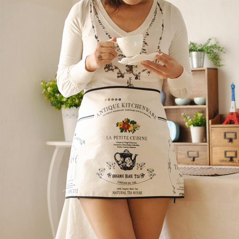 High Quality Cotton Linen Women Apron Flower Letter Printed Avental Kitchen Aprons Household Cleaning Tools Home Supply One Size(China (Mainland))