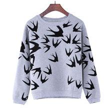 M-XL Grey Women Spring Sweatshirt 2015 Stylish Cute Swallow Print Hoodies Long Sleeve Pullover Tops(China (Mainland))