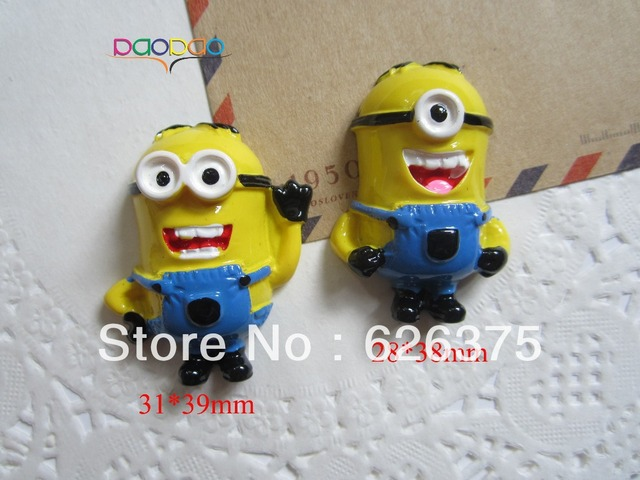 Mixed Wholesale Despicable Me Minion, Resin Flatback Flat Back Cabochons for Scrapbooking Hair Bow Center, DIY, Free Shipping