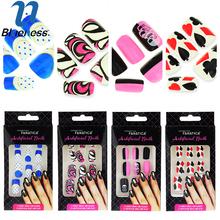 12PCS/Set Nail Tips Resin Poker Design False Nail 4 Set Mixed French Fake Artificial Fingernail Free Glue Manicure BTN002(China (Mainland))