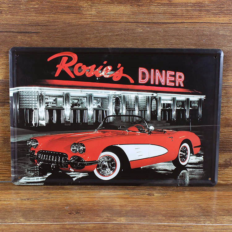 Rosie 39 s diner retro tin signs art wall decor house cafe for Diner home decor