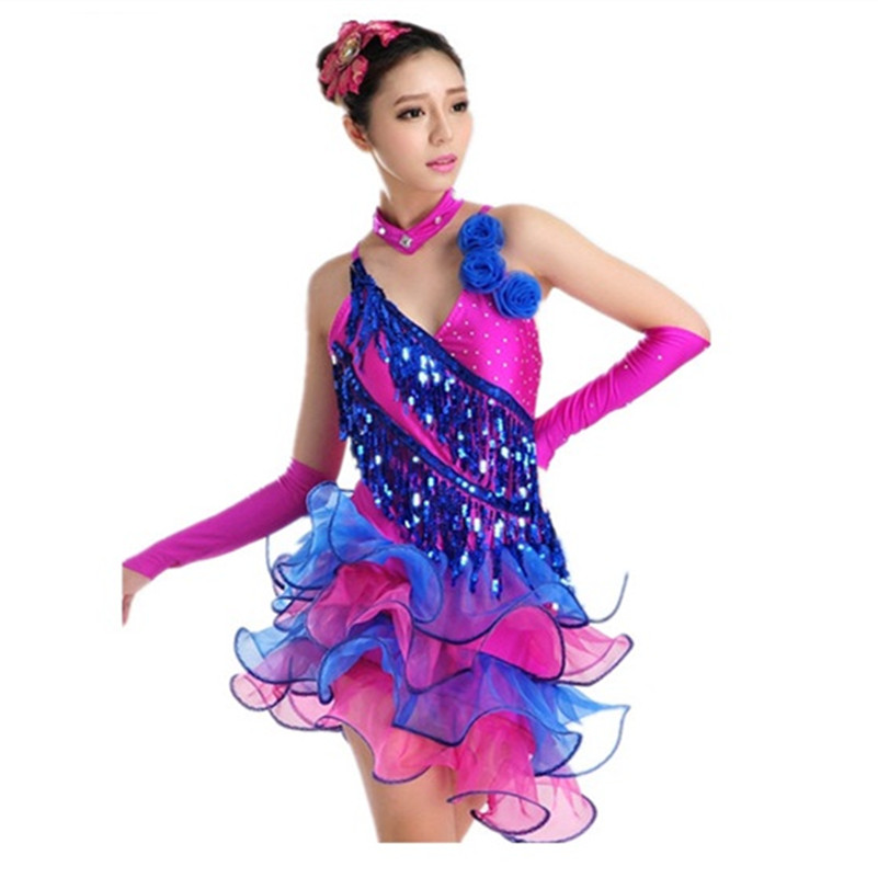 2016 women fashion Tuxedo Latin dance dress customize white/blue girl tassel sequins Rumba Samba tango dance competition dress(China (Mainland))