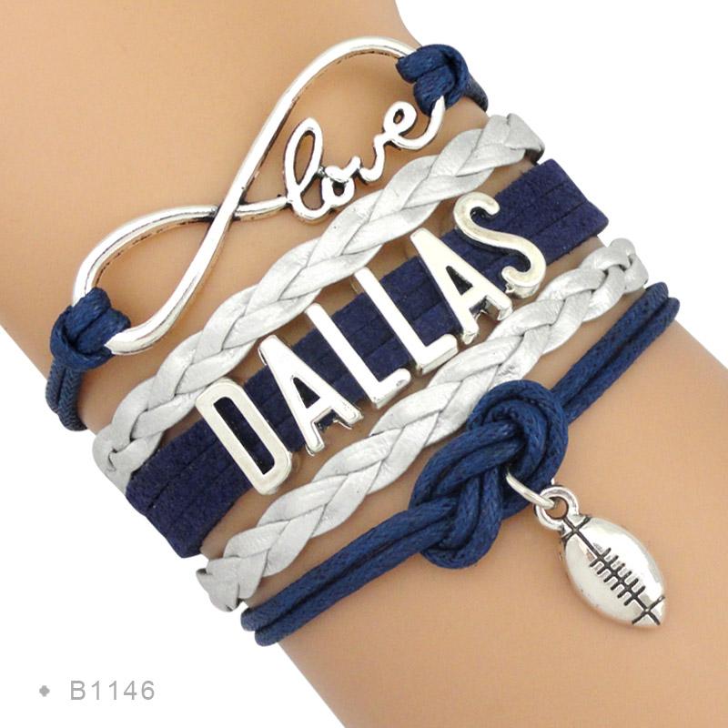 (10 Pieces/Lot) Infinity Love NFL Dallas Cowboys Football Team Bracelet Navy Blue Metallic Silver - Custom - Drop Shipping(China (Mainland))