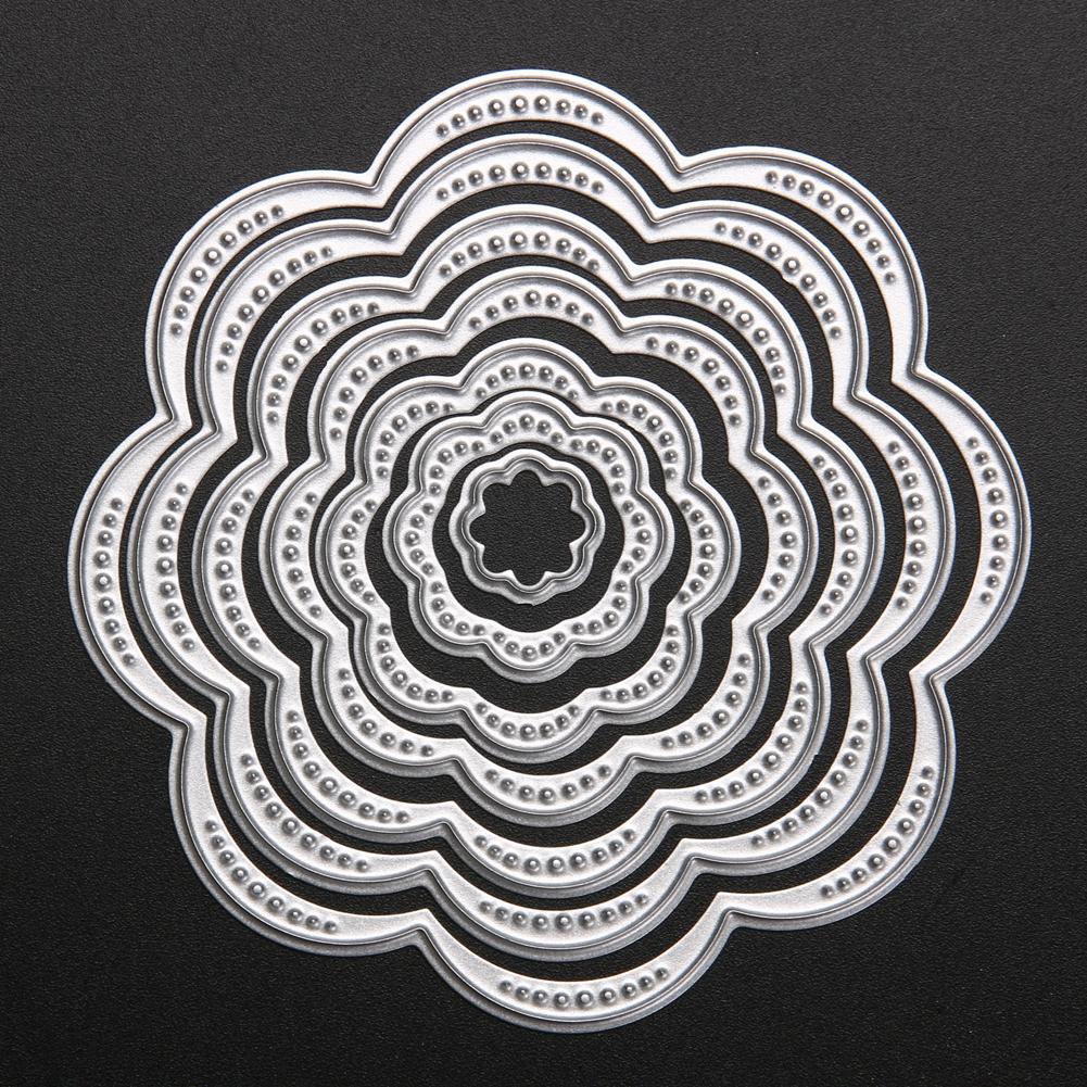 7Pcs Circle Frame Flower Metal Cutting Dies Stencils Scrapbooking Die Cuts DIY Embossing Photo Album Cards Making Kit Craft Dies