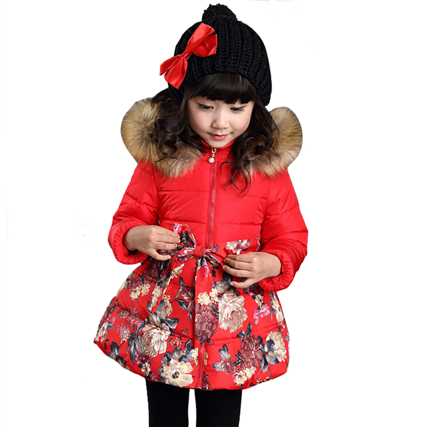 2015 Girls Winter Coat Fur Collar Hood Jacket Parka Print Floral Kids Clothes Jackets Belt Children Clothing - Fashion Watch$Beads store