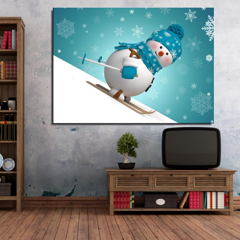 Snowman skiing snowflake Hat glove Cartoon Europe Spray drawing Frameless Canvas Home decor Oil Painting art miniature gift(China (Mainland))