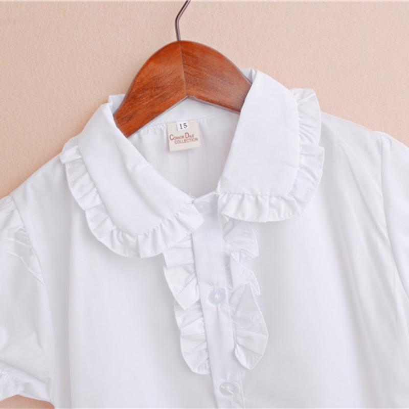 Kids Girls Short Sleeve Tops Shirt Lace Cotton Shirt Blouse Shirt for Summer White