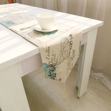 Burlap Linen Vintage Frech Style Butterfly Rustic Home Decor table runner  Size for choose(China (Mainland))