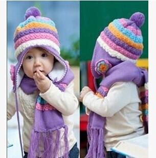 2015 New Unisex Children Hat Winter Cap Knitted Beanies Scarf + Hat Two Piece Plain White Pineapple Stripe Sleeve kids beanies(China (Mainland))