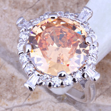 Elegant Champagne Morganite White Topaz Silver Women's Fashion Fine Jewelry Ring Size 5 / 6 / 7 / 8 / 9 Free Gift Bag E087(China (Mainland))